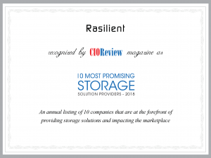 CIOReview Magazine Names Rasilient as Most Promising Storage Solution Providers of 2018
